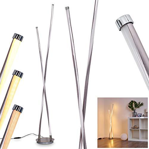 LED Stehleuchte Concord, stufenlos dimmbare Stehlampe aus Metall in Silber, moderne Bodenlampe mit Fußschalter am Kabel, 43 Watt, 1300 Lumen, Lichtfarbe 3000 Kelvin (warmweiß)