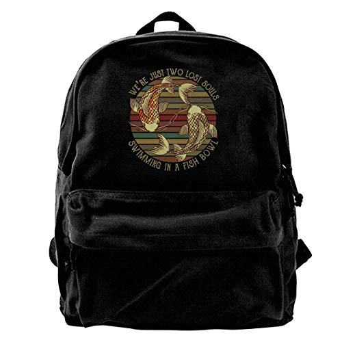 huatongxin Canvas Mochila We're Just Two Lost Souls Swimming in A Fish Bowl Rucksack Gym Hiking Laptop Shoulder Bag Daypack for Men Women
