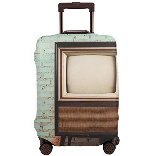 Travel Suitcase Protector,Retro Old Television in Vintage Wall Pastel Color Background,Suitcase Cover Washable Luggage Cover XL