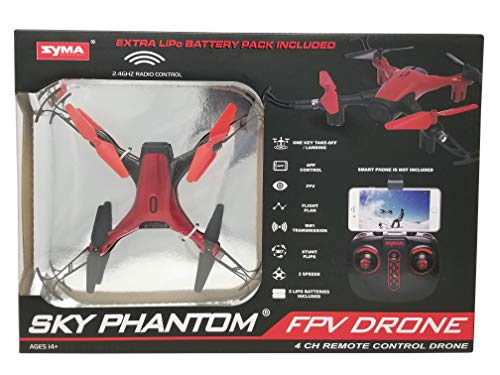 Syma Sky Phantom FPV Drone D1650WH 2 Speeds, App, 4 CH Remote Control - Red