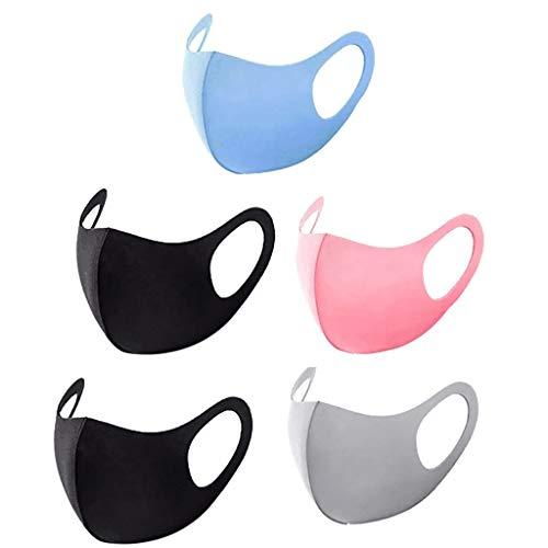 5 Stück Mundschutz Gesichtstuch, Fashion Unisex Face Cover, wiederverwendbare und waschbare Gesichtsschutz zum Laufen, Radfahren, Skifahren, Outdoor-Aktivitäten
