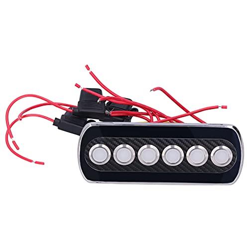 Interruptor De Botón, Panel De Interruptor De Botón De Fibra De Carbono Con Luz Indicadora LED Roja Para Vehículo Para Barco Marino