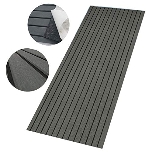 "CHURERSHINING EVA Teak Decking Sheet for Boat Yacht Marine Floor Carpet Non-Slip and Self-Adhesive Bevel Edge 94.5""×47.2"" (Dark Gray with Black)"
