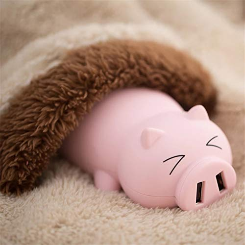Lovely Compact Power Bank Outdoor Charger Portable Battery Pack Cartoons Pig Power Bank Dual USB Emergency Mobile External Battery Best Gift for Girlfriend