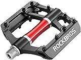 ROCKBROS Pedales Bicicleta Montaña MTB Carretera de Aleación Aluminio Gran Plataforma Rodamiento Sellado Antideslizantes, Unisex