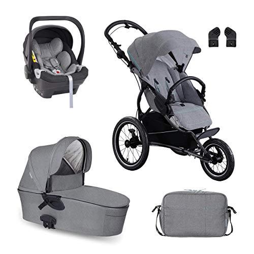 X-lander Kombikinderwagen 3in1 X-Run Babywanne Sportbuggy Babyschale Wickeltasche Laufkinderwagen Buggy Kinderwagen (Azure grey)