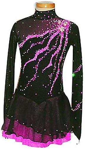 SISHUINIANHUA LBFBRR Robe de Patinage Artistique Femme Fille Robe de Patinage Manches Longues Utilisation Sport de détente Tenue de Patinage Spandex Jupes