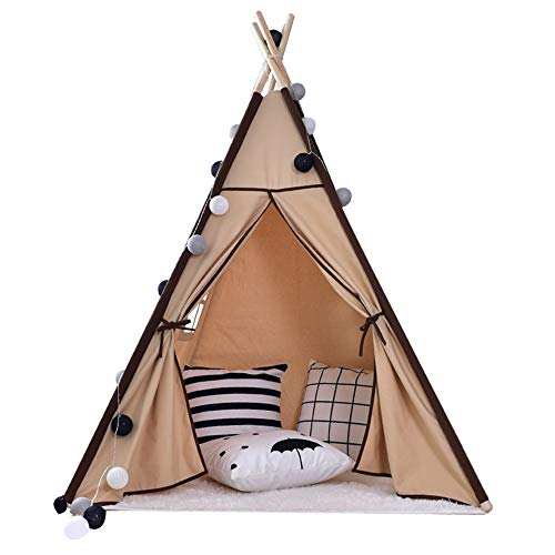 Liergou Childrensplay Tent India Playhouse Teepee For Kids Play Tent For Boy Girl Indoor & Outdoor Gift for Kids (Color : Brown, Size : ONE SIZE)