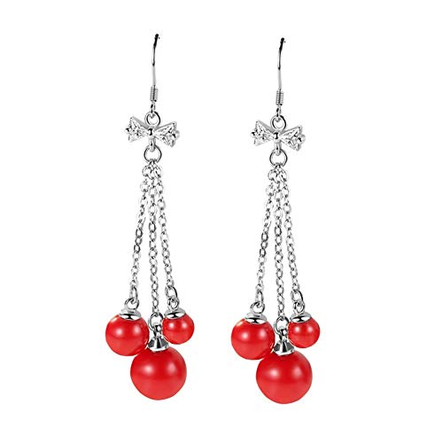 nobrand S925 Mode Bogen rote Quaste Perle Ohrringe Damen Mode Ohrringe Ohrringe weiche und frische Ohrringe Party Jewelr (Color : E-295, Size : Silver)