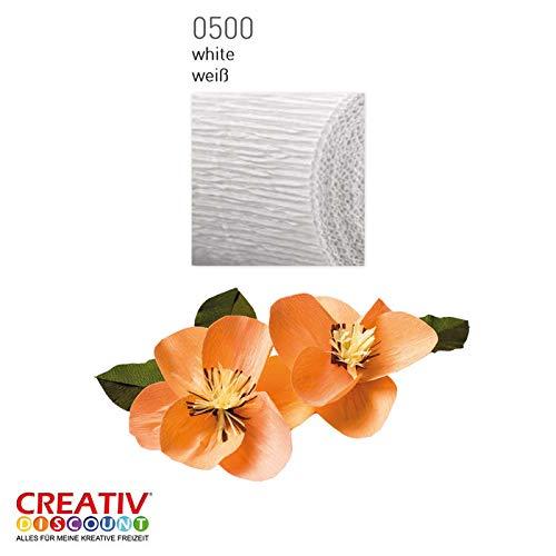 CREATIV DISCOUNT® NEU Floristen Krepp-Papier 50x250cm, Weiß