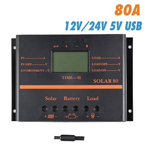 Solarladeregler, 80 Ampere Solarpanel-Laderegler 12V 24V Auto mit LCD-Display, Lade-Timer für Blei-Säure-Batterien-80A