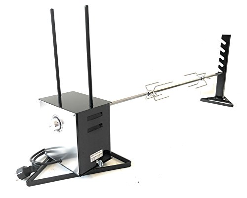 ALLEGRI Asador eléctrico profesional de velocidad variable con asador de acero inoxidable anti-deflexión de 120 cm de largo y dos tenedores para bloquear la carne