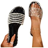 Sandals for Women, Comfy Shining Diamond Roman Shoes Casual Summer Beach Travel Indoor Outdoor Flip Flops Slipper