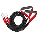 18lb X-Over Arm and Shoulder Resistance Band Set with Handles American Made Covered Band   Factory Direct Pricing  Covered for Your Safety by FitCord