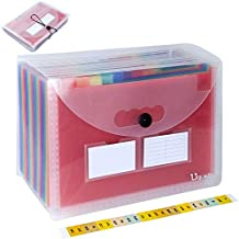 Uquelic 24 Pockets Expanding File Folder - Clear Poly Rainbow Expandable Document Storage Organizer A4 Letter Size Accordion A-Z Filling Box Concertina Wallet