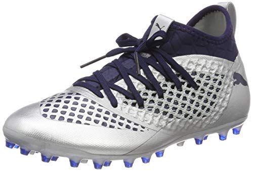 Puma Future 2.3 Netfit MG, Zapatillas de Fútbol Hombre, Plateado Silver-Peacoat 04, 42 EU