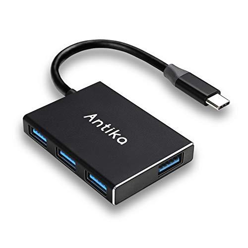 Antika Hub USB C ultra delgado con 4 puertos USB 3.0 Portable Hub Tipo C para MacBook Pro 2019/2018/2017, Chromebook Google Pixelbook, XPS, Samsung S9/S8 y otros dispositivos USB tipo C