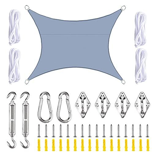 Vela de Sombra 3x4m Rectangular Toldo Vela Impermeable Protección Solar Rayos UV para Jardín Patio Terraza Balcón Exteriores Accesorios de MontajeTodo Incluído (Gris)