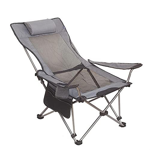 JIASHIQI Silla Plegable portátil para Acampar, Silla con Respaldo, Lona retráctil, terraza, Playa, jardín, Campamento al Aire Libre, Silla de Senderismo para Picnic (Color : Gray)