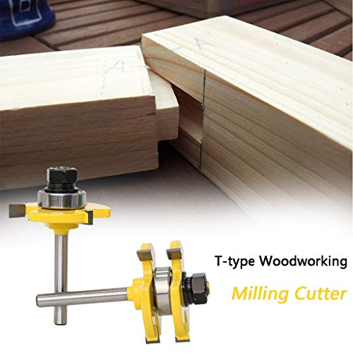 Gallity 3 Teeth T-type Tenon Knife Cutter Bit Tongue & Groove Router Bit Set T-shape Wood Milling Tongue and Groove Router Bit Tool Set