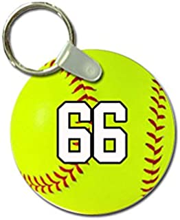 TYD Designs Key Chain Sports Softball Customizable 2 Inch Metal and Fully Assembled Ring with Any Team Jersey Player Number