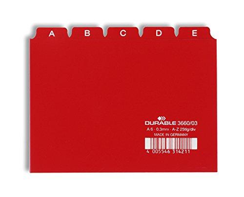 Durable 366003 - Divisore Alfabetico per Schedario, Formato A6, con Etichette Prestampate (A-Z), Rosso, Confezione da 25 Pezzi