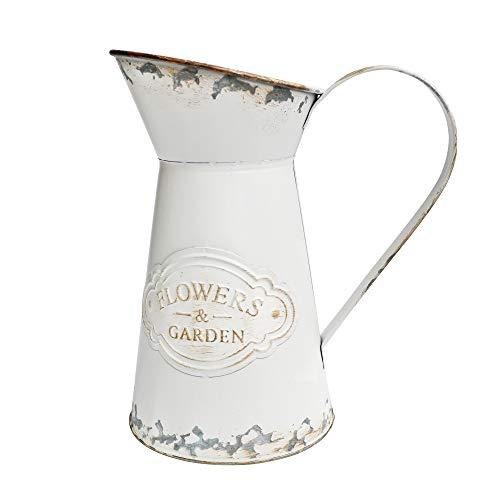 VANCORE Shabby Chic Style White Metal Vase Mini Milk Can Jug Rustic Pitcher Flower Holder
