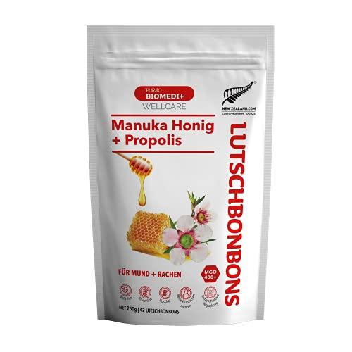 Purao Biomedi+ Manuka Honig MGO 400+ Bonbons mit Propolis - wohltuend für Mund und Hals, 42 Bonbons (250 g) im wiederverschließbarem Beutel