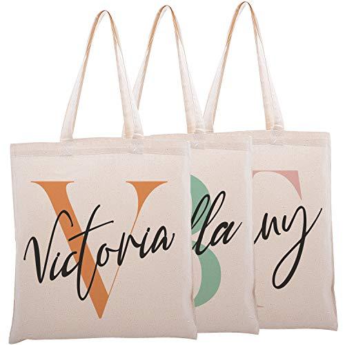 Personalized Initial Cotton Canvas Shoulder Tote Bag - Women Custom Design - Handbag Gift for Special Days - Wedding, Bachelorette, Baby Shower, Bridesmaid, Birthday, Bridal Shower- Single - C01