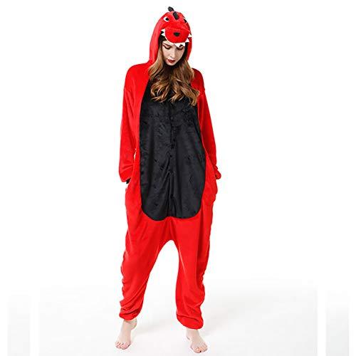 SLDAGe Adultos Dibujos Animados Pijama,Dinosaurio Rojo Cartoon Supersoft Flannel Disfraz Pijamas Mujeres...