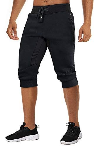 TACVASEN Men's 3/4 Long Cotton Casual Shorts Jogger Capri Pants Zipper Black