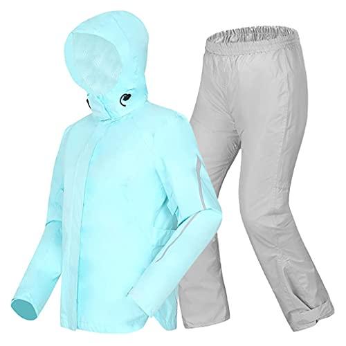 BHBXZZDB Women Rain Suit (Jacket + Trousers), Lightweight Waterproof Rain Gear Windproof Hooded Rain Coat for Bike Cycling Motorcycle Walking Work(Size:Small)