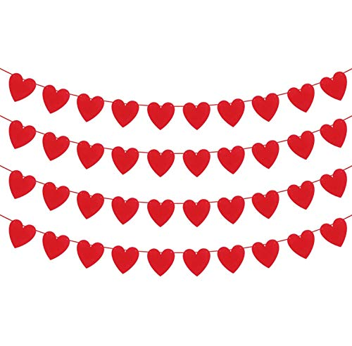 Red Felt Heart Garland for Valentines Day Decor - 4 Strings | Valentine Garland for Valentines Day Decoration | Valentines Day Home Decor | Valentines Day Banner for Romantic Decorations Special Night
