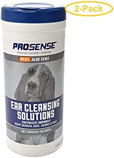 eCOTRITION Pro-Sense Plus Ear Cleansing Solutions for Dogs 50 Count - Pack of 2