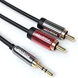 JAMEGA - Cable RCA a jack de 7,5 m   Conector jack de 3,5 mm a 2 conectores RCA RCA macho doble apantallamiento Hi-Fi Aux RCA para smartphone, tabletas, equipo estéreo, amplificador, altavoz, etc.