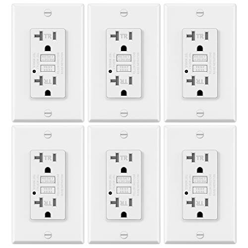 6 Pack - ELECTECK GFCI Outlets, Tamper-Resistant (TR) GFI Receptacles with LED Indicator, 20A/125V/2500W, Decorator Wall Plates and Screws Included, ETL Certified, White