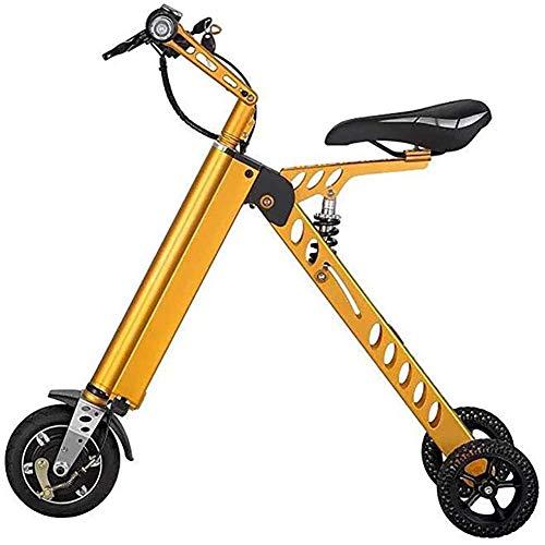 LJ Tragbare Elektrofahrräder, 8 'Dreirad-Elektroauto 250W Motor 36V 7,2 Ah Lithiumbatterie Klappwagen, Smart Electric Wiederaufladbares Fahrrad Höchstgeschwindigkeit 20 km/h, gelb,Gelb
