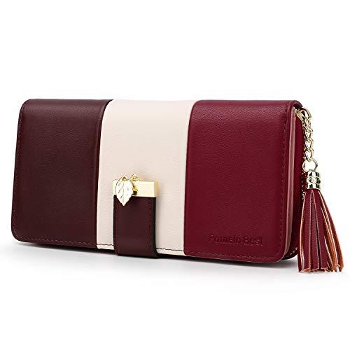 Pomelo Best Damen Geldbörse Mehrfarbig gestreift Portmonee (Typ 2 Rot)
