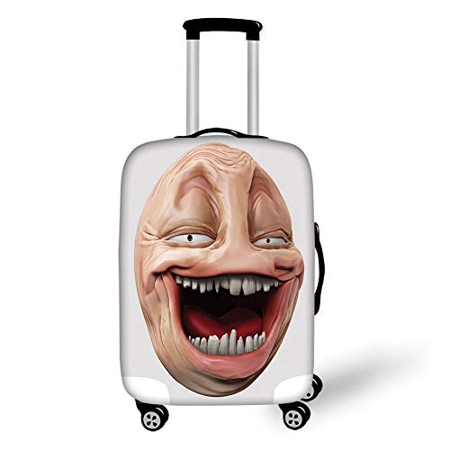 Travel Luggage Cover Suitcase Protector,Humor Decor,Poker Face Guy Meme Laughing Mock Person Smug Stupid Odd Post Forum Graphic,Peach Pearl,for Travel XL