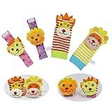 Ggdoo 4pcs / Set del bebé traqueteo de la muñeca del buscador del pie del calcetín de algodón rellena Felpa Infantil del Nacimiento del bebé del Juguete de Recuerdos para Newbornv Juegos