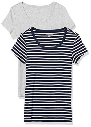 Amazon Essentials 2-Pack Slim-fit Cap-Sleeve Scoopneck T-Shirt Camiseta, Azul Marino/Rayas Blancas/Gris Claro Jaspeado, S