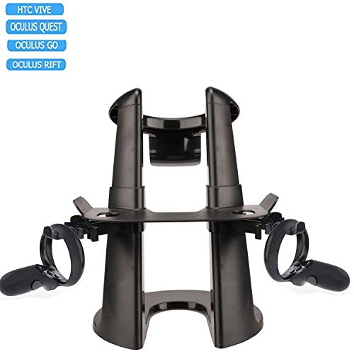 VR Quest Headset Stand and Controllers Holder Compatible with Oculus Go/Rift/Quest, HTC Vive, Google Daydream, Samsung VR
