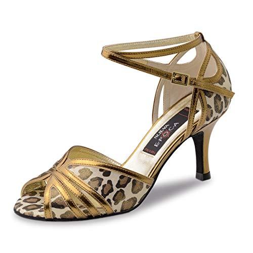 Nueva Epoca - dames dansschoenen/salsa sandalen Saskia - leder goud/luipaard - 8 cm stiletto - Made in Italy