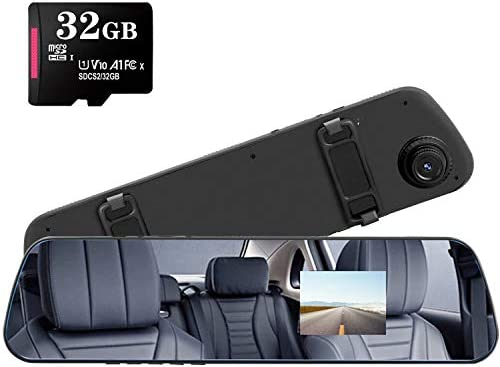 YUNXIAO 1080p hd Mirror Dash cam 32GB TF Card Included with 2 4 LCD Screen Night Vision G Sensor product image