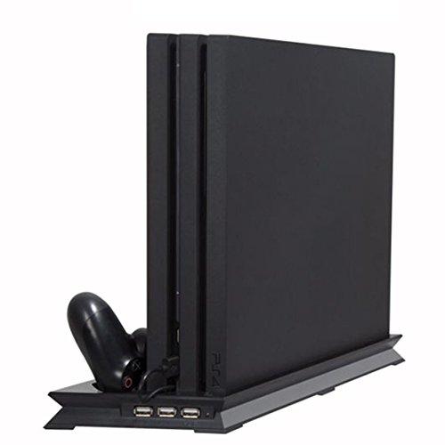 PS4 Vertical Stand Ventilateur de Refroidissement, Station d'accueil à socle Système de refroidissement à double socle de pour 2 console + socle de chargement pour contrôleur à distance + 3 ports USB
