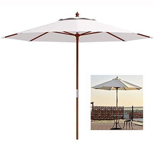 DFBGL Parasol de jardín de Madera Dura de 2,7 m / 8,8 pies, toldo y oslash; 38 mm para balcón, terraza, Playa, café, Sombra - Crema