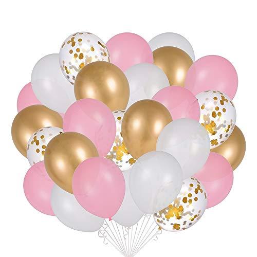 Globos Garland Arch Kit 120PCS, paquete de globos metálicos de confeti de oro blanco rosa, globos de látex para decoración de fiesta de boda de cumpleaños