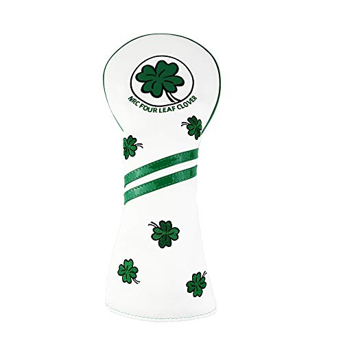 HELLO NRC Golf Head Covers Club Covers for Driver Fairway Woods Hybrid Clover Lucky Protector Headcover PU Leather with Interchangeable Number Tag (White-DR)
