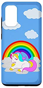 Cute White Unicorn Cartoon on Cloud with Rainbow Galaxy Case
