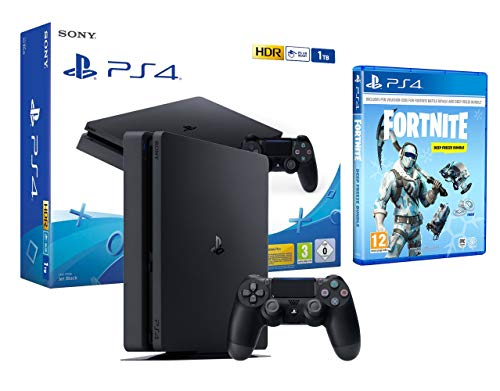 PS4 Slim 1TB schwarz Playstation 4 Konsole + Fortnite: Deep Freeze Bundle [inkl.1000 vbucks]